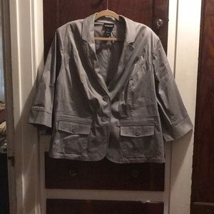 Gray cotton spandex 3/4 sleeve blazer
